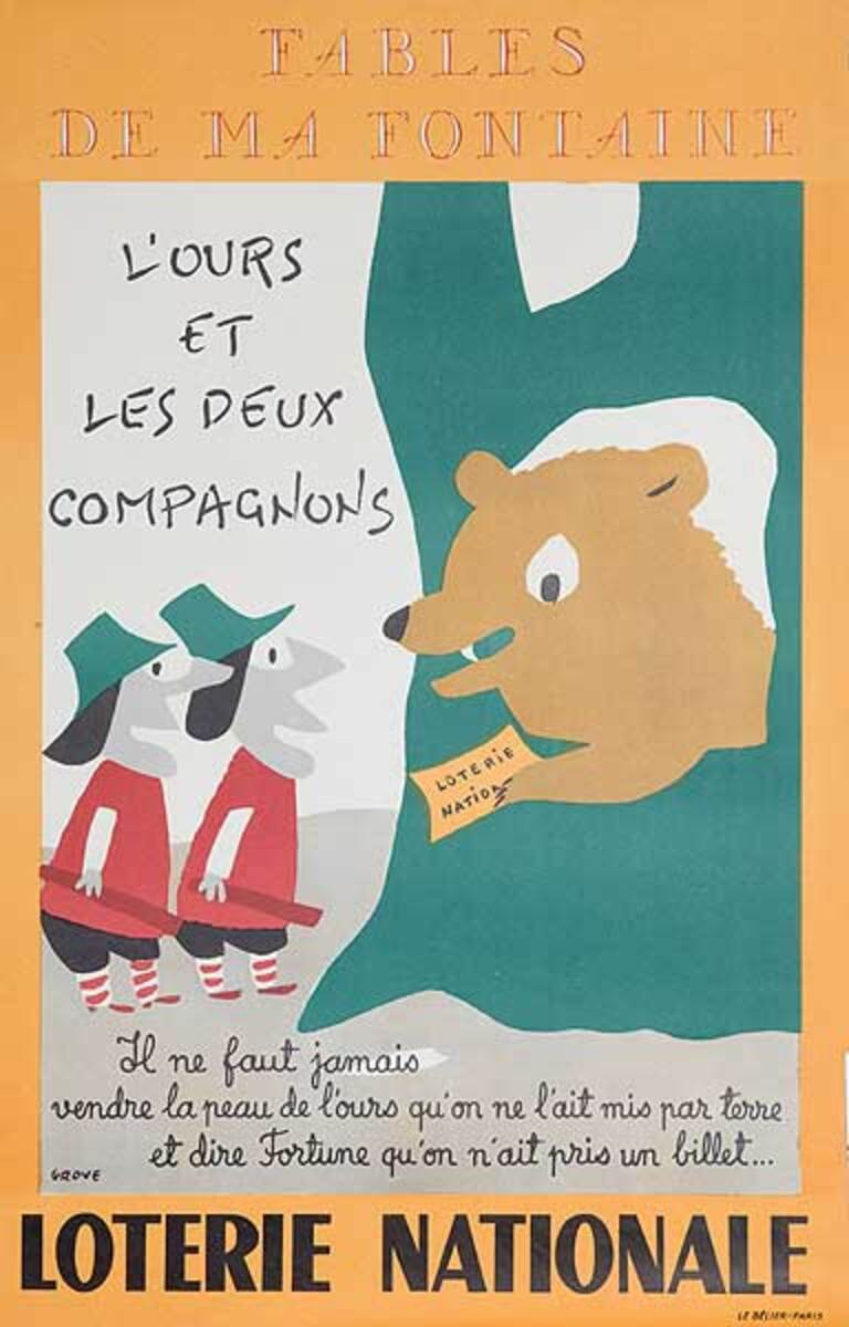 L'Ours Et Les Deux Compagnons The Bear and His Two Comanions Original French Loterie Poster