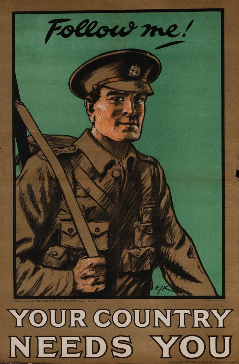 Follow me! Your Country Needs You<br>British WWI Poster