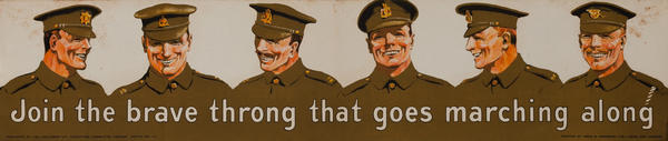 Join the brave throng that goes marching along<br>British WWI Poster