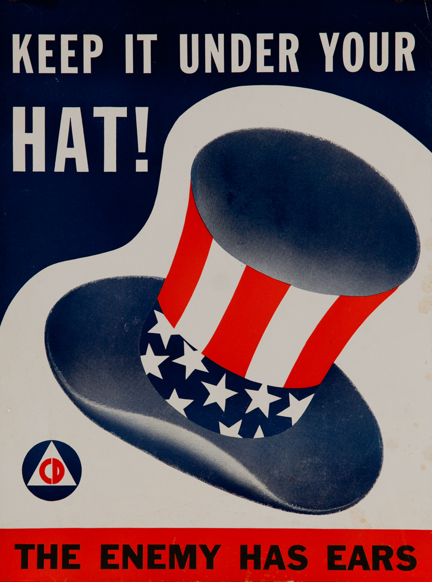 Keep it under your Hat! The Enemy Has Ears<br>WWII Careless Talk Poster