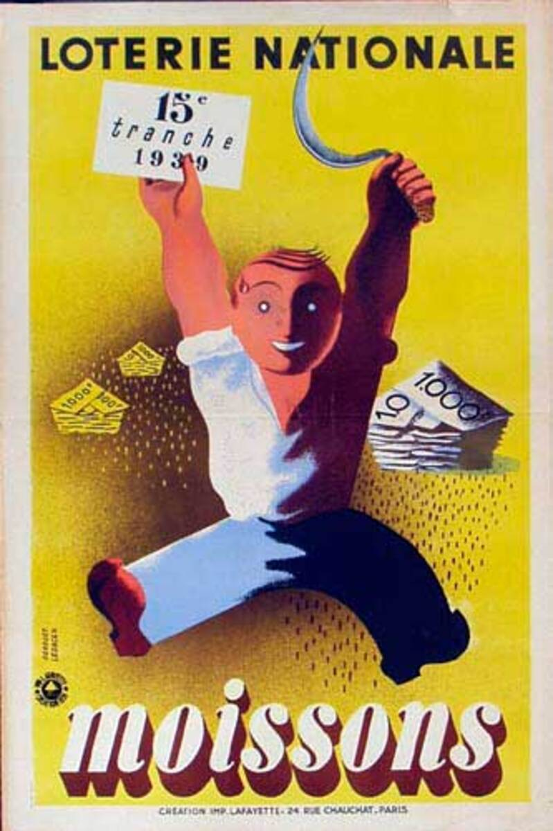 French Loterie Nationale Original Vintage Poster Moissons