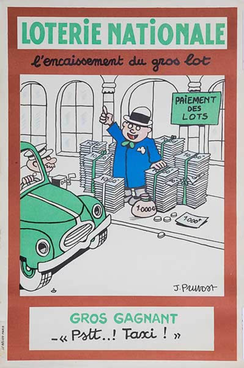 Psst Taxi Original French Loterie Poster