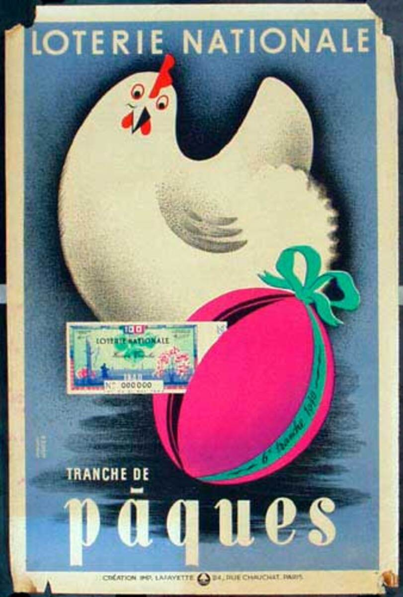 French Loterie Nationale Original Vintage Poster Paques