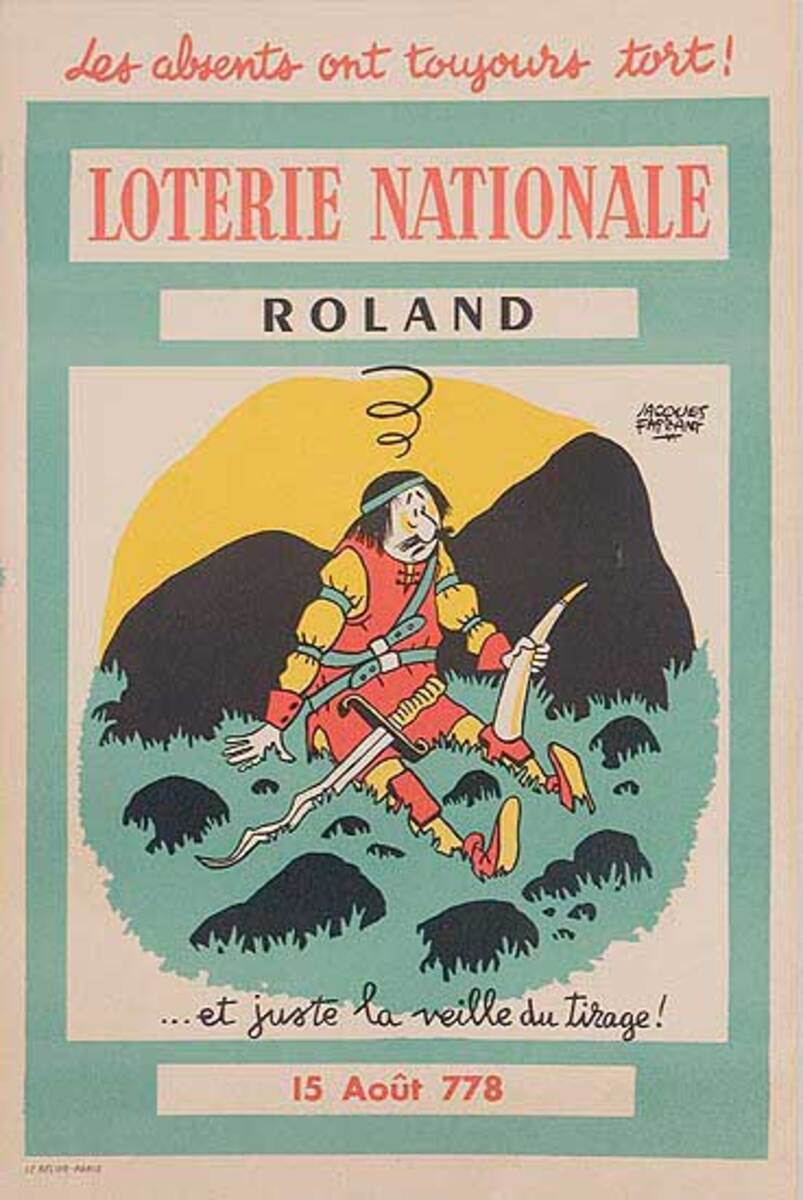 French Loterie Nationale Original Vintage Poster Roland