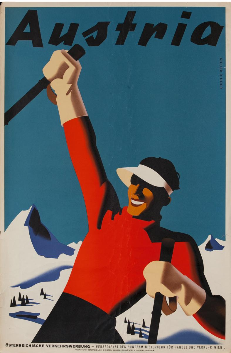 Austria Travel Poster Art Deco Skier