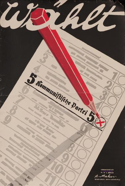 Wählt Kommunistische Partei 5 German Politcal Poster<br>Choose the Communist Party