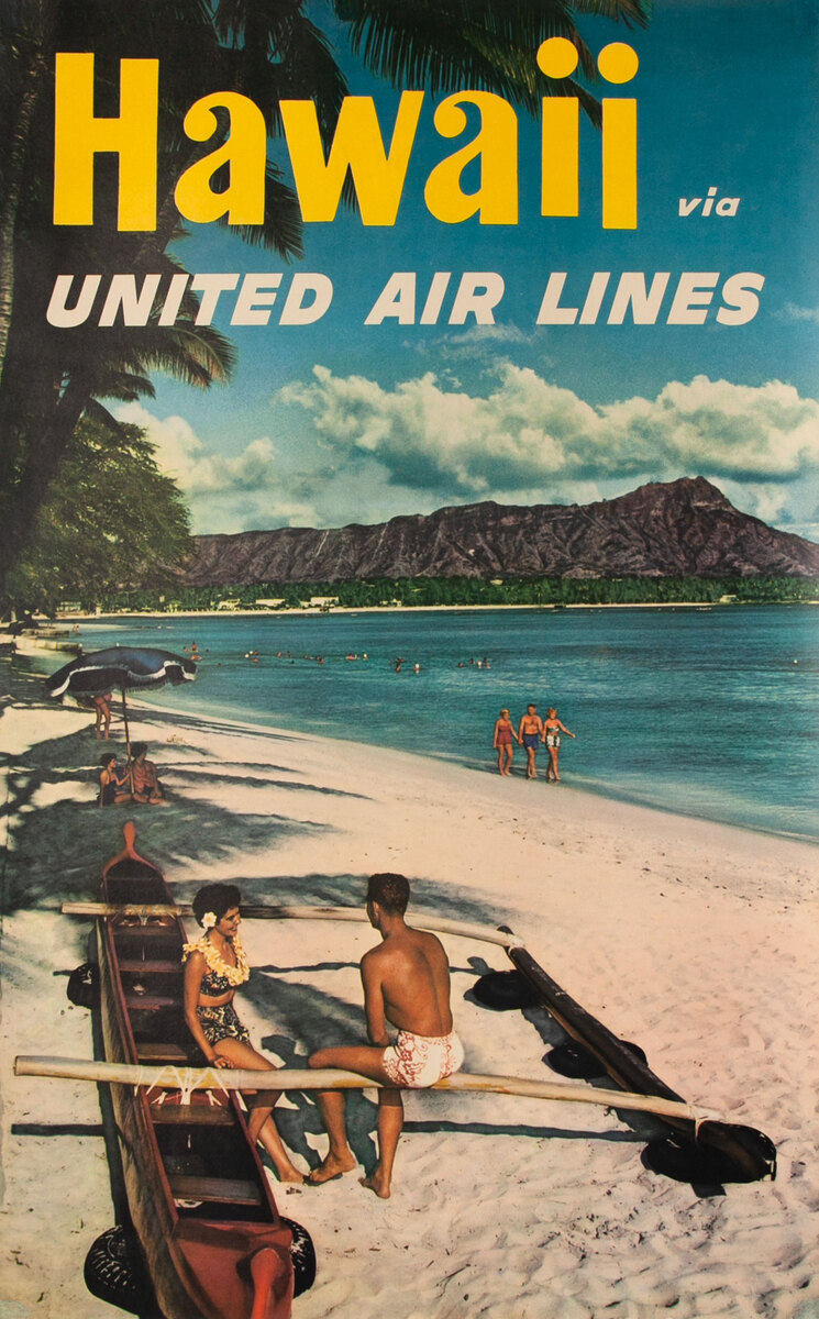 Hawaii via United Air Lines Outrigger Beach Photo<br>Travel Poster
