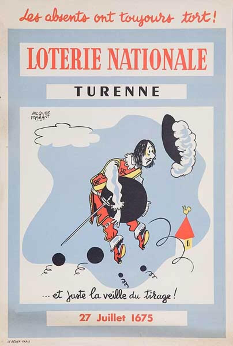 French Loterie Nationale Original Vintage Poster Turenne