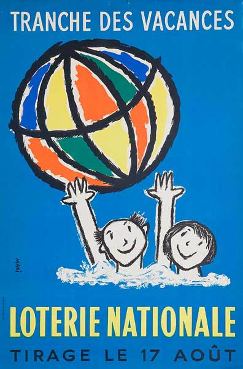 Tranch Des Vacances Beach Ball Original French Loterie Poster