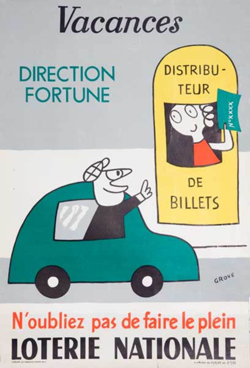 Vacances Direction Fortune Original French Loterie Poster