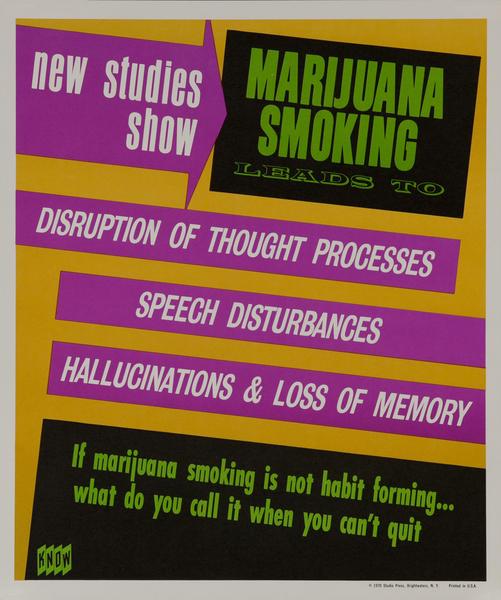 KNOW Marijuana Smoking Leads to Hallucinations & Loss of Memory, Anti-drug Abuse Poster