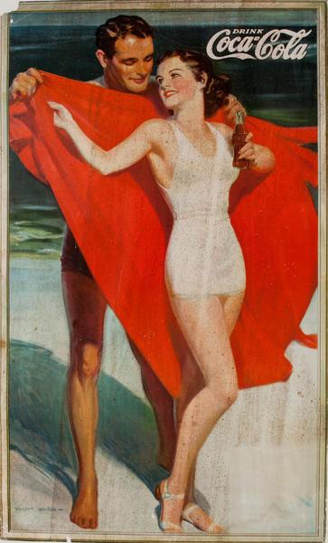 Coke Beach Couple Advertising Poster
