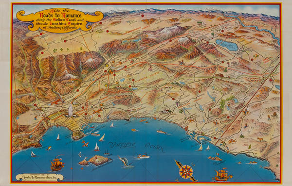 Souther California's Golden Coast, Santa Fe Travel Brochure Map