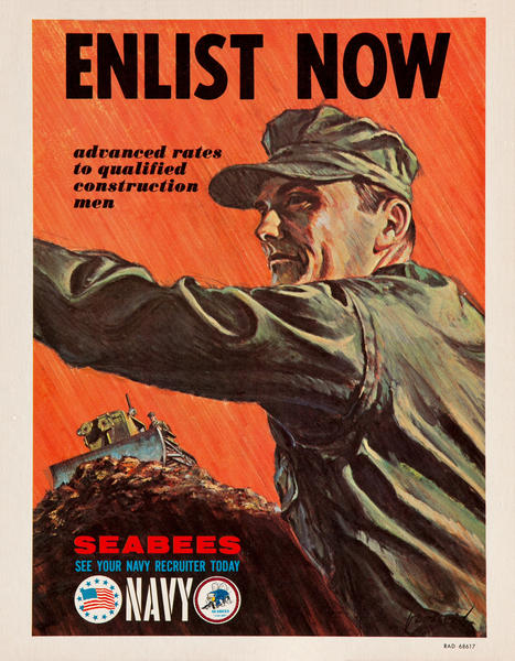 Enlist Now, Seabees Navy<br>Vietnam War Recruiting Poster