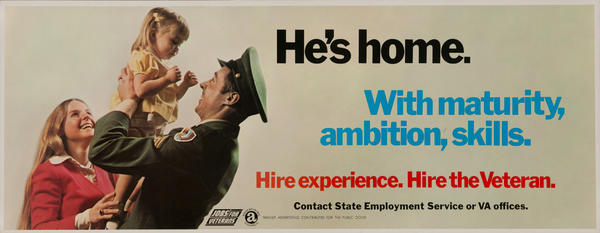 Hire the Veteran. Vietnam war Jobs for Veterans poster