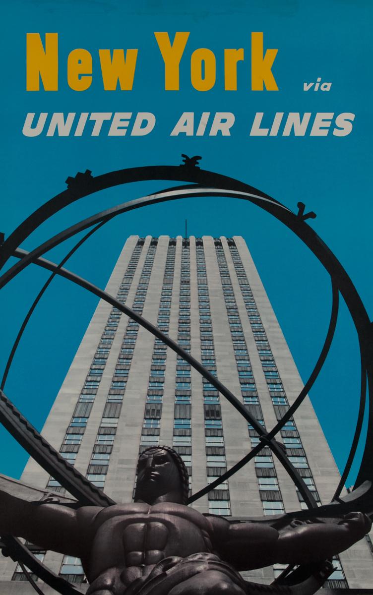 New York United Air Lines <br>Rockefeller Center Travel Poster