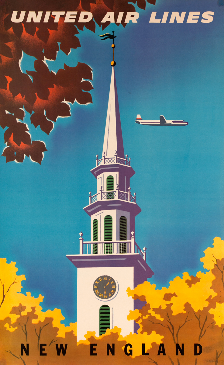New England Church Steeple<br>United Air Lines Travel Poster
