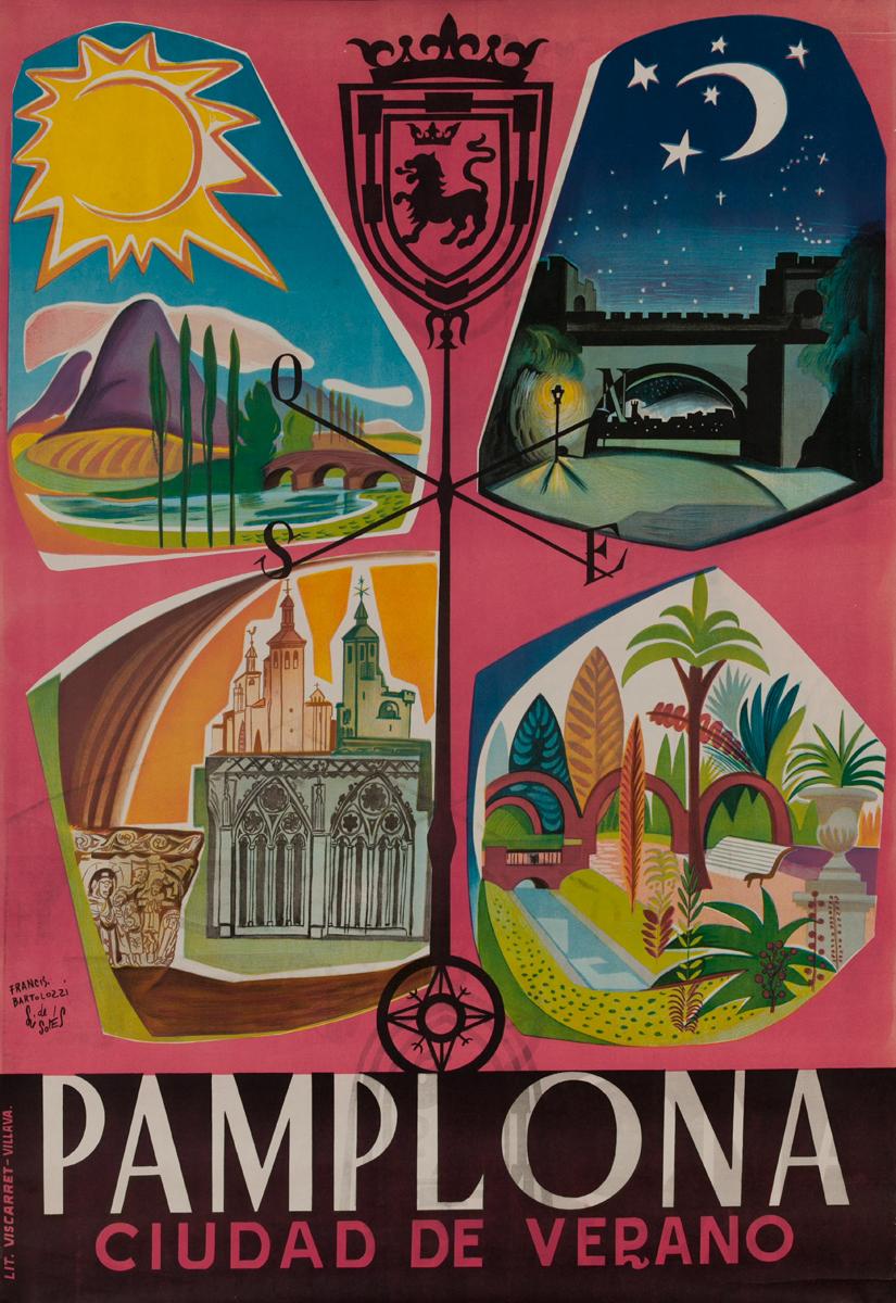 Pamplona Cuidad de Verano, Spanish Travel Poster Summer City