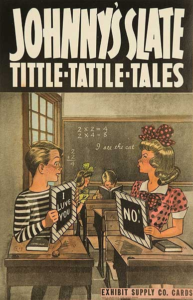 Johnny's Slate tittle Tattle Tales  Original Carnival Display Poster