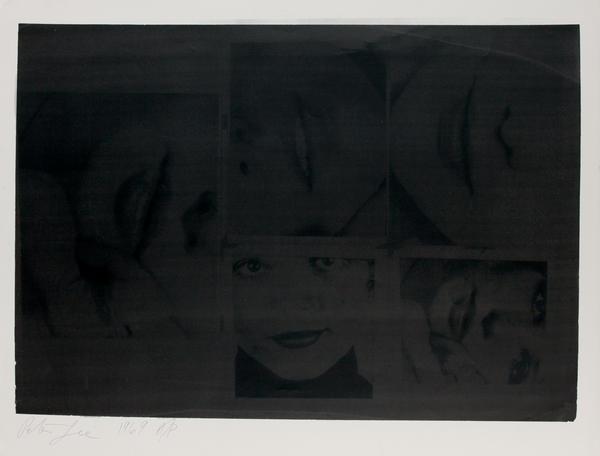 Hand Signed Peter Gee Silkscreen Print 5 faces