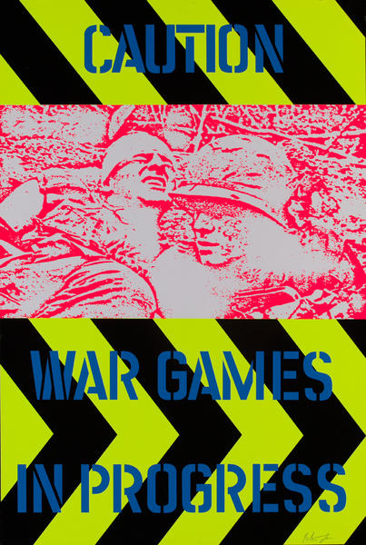 Caution War Games in Progress<br>Hand Signed Peter Gee Poster