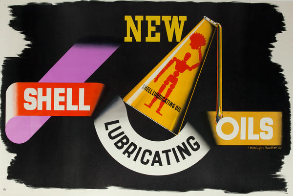 New Shell Lubricating Oils<br>Original British Advertising Poster