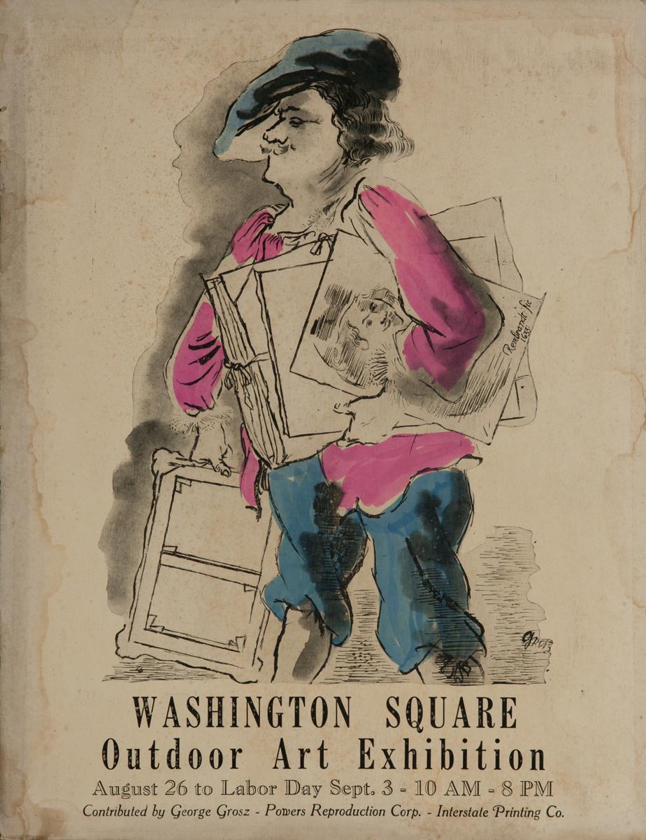 Washington Square Art Exhibition, New York City Art Poster, Grosz