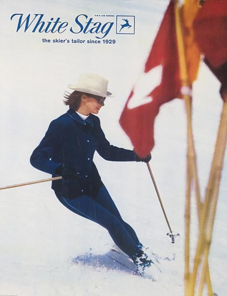 White Stage Ski Clothes Original Advertising Poster