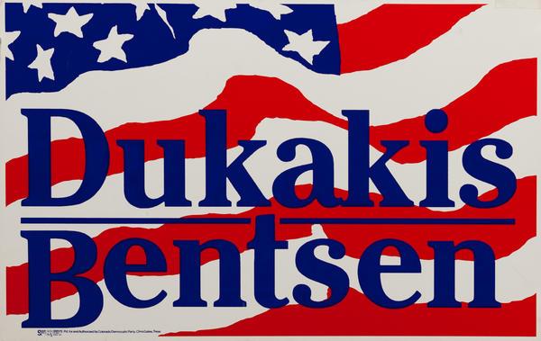 Dukakis Bensen Political Campaign Poster