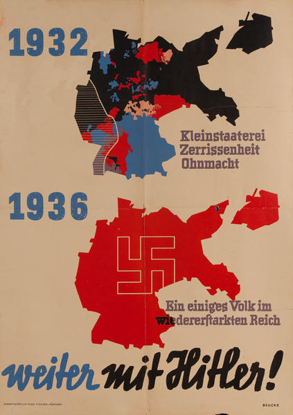 1932 1936 weiter mit Hitler, German pre-WWII Political Poster