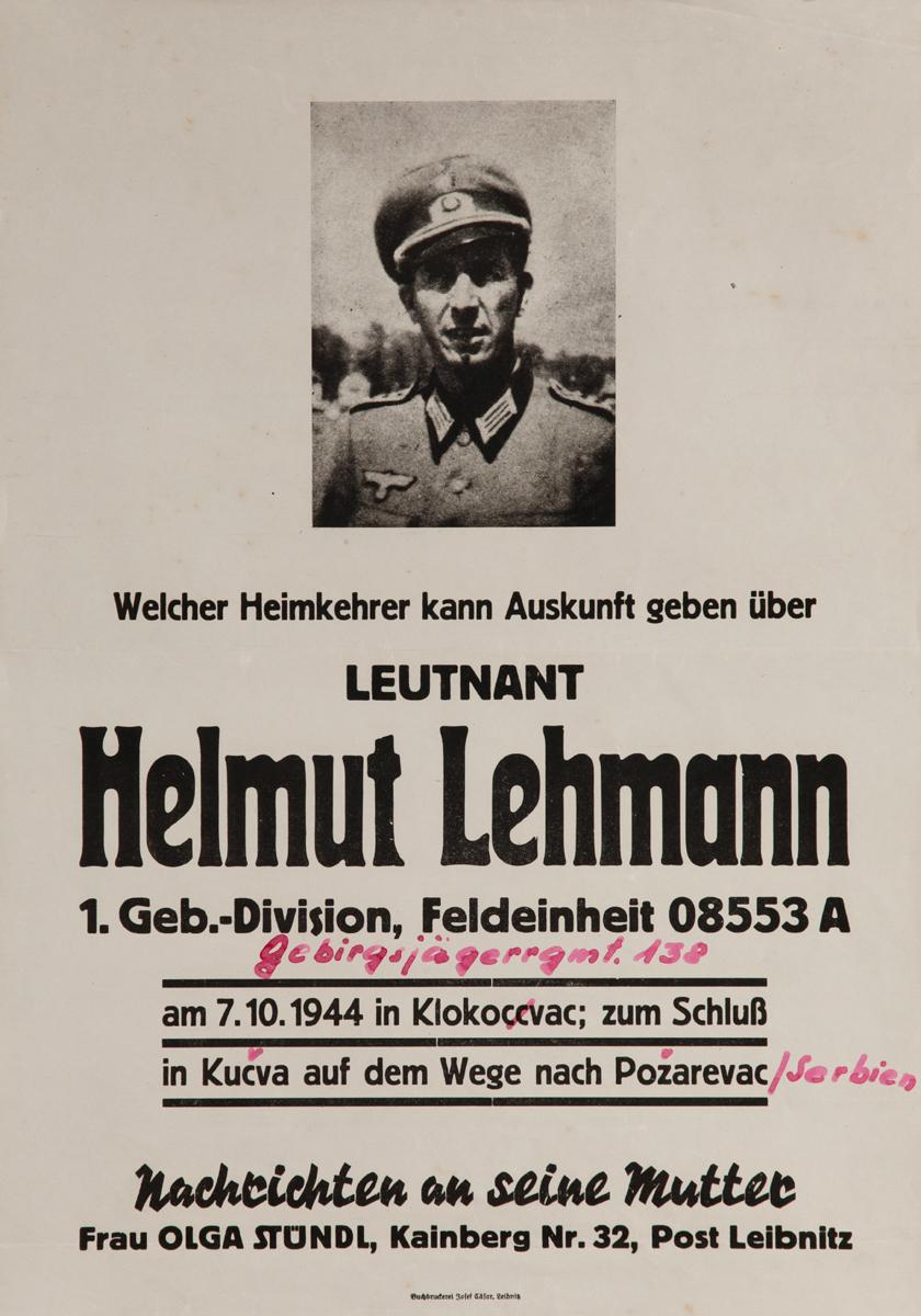 Leutnant Helmut Lehmann Missing German Soldier  WWII Poster