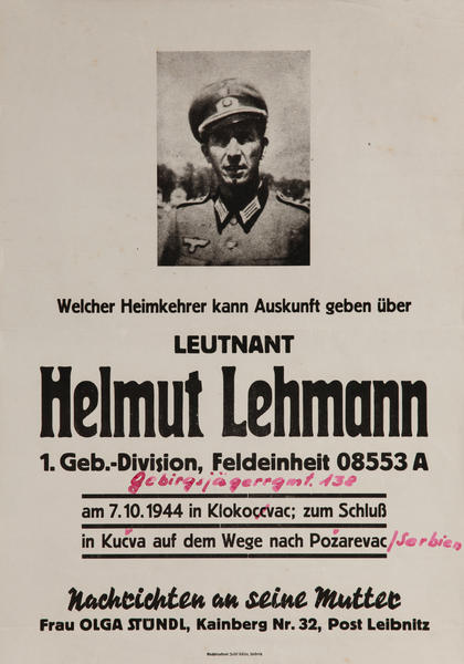 Leutnant Helmut Lehmann Missing German Soldier  WWII Poster
