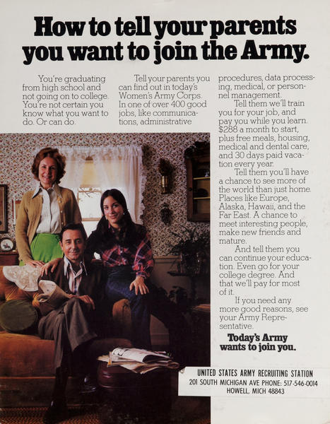 Today's Army - How to tell parents you want to join the Army. Vietnam War recruiting poster.