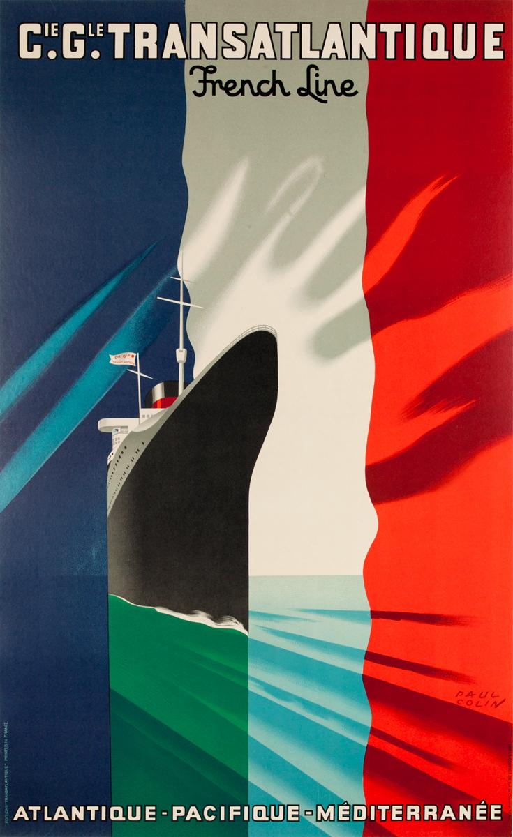 Cie. Gel. Transatlantique Cruise Line Poster<br>Atlantique - Pacifique - Méditerranée