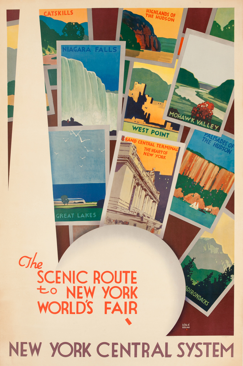 The Scenic Route to New York World's Fair<br>New York Central Lines Railroad Poster
