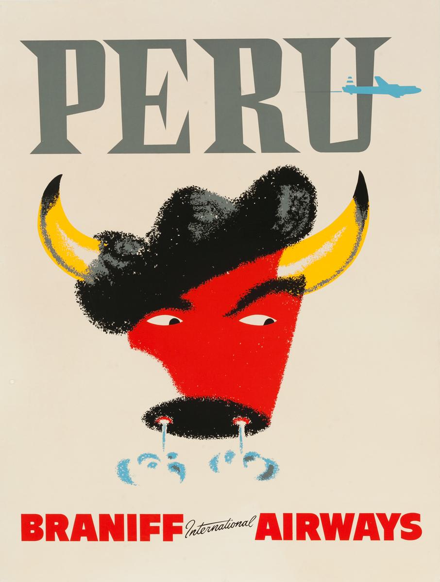 Braniff International Airways Original Travel Poster Peru Bull