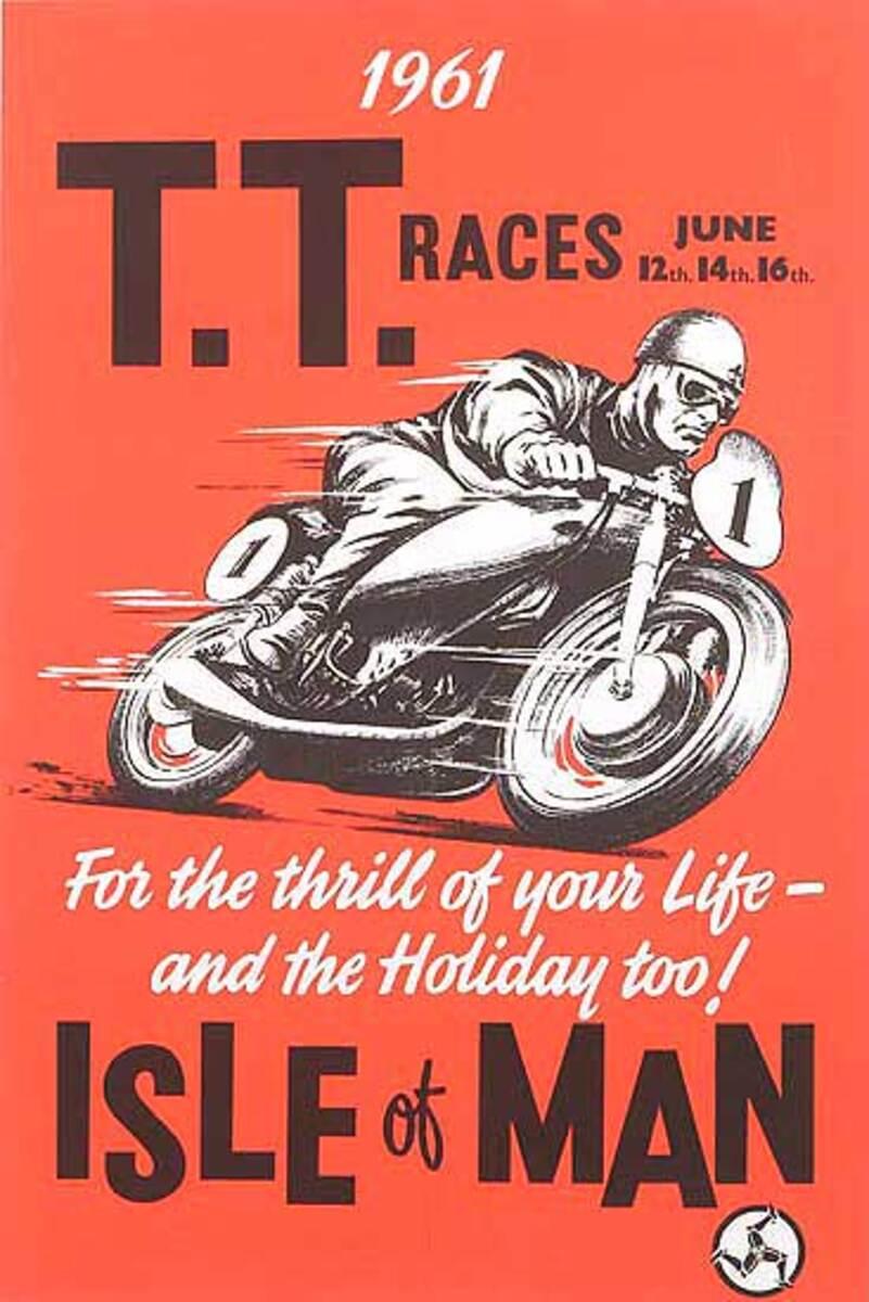 Isle of Man TT Cup Race Original Vintage Race Poster