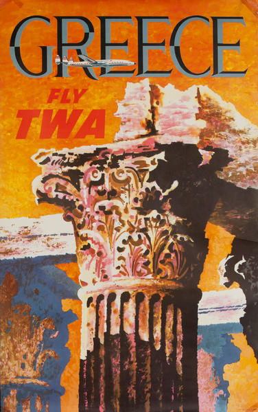Greece Fly TWA Original Travel Poster Column Propellor Constellation