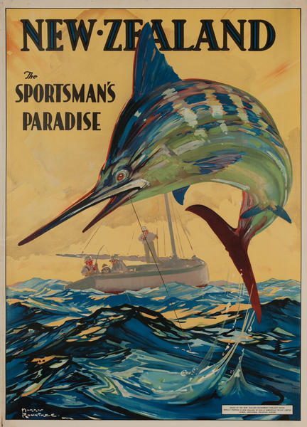 New Zealand the Sportsman's Paradise, Rare Travel Poster