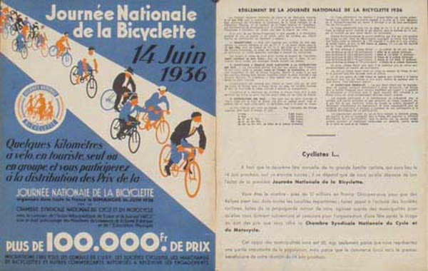 Journee Nationale de la Bicyclette 1936 Original French Advertising Print Poster
