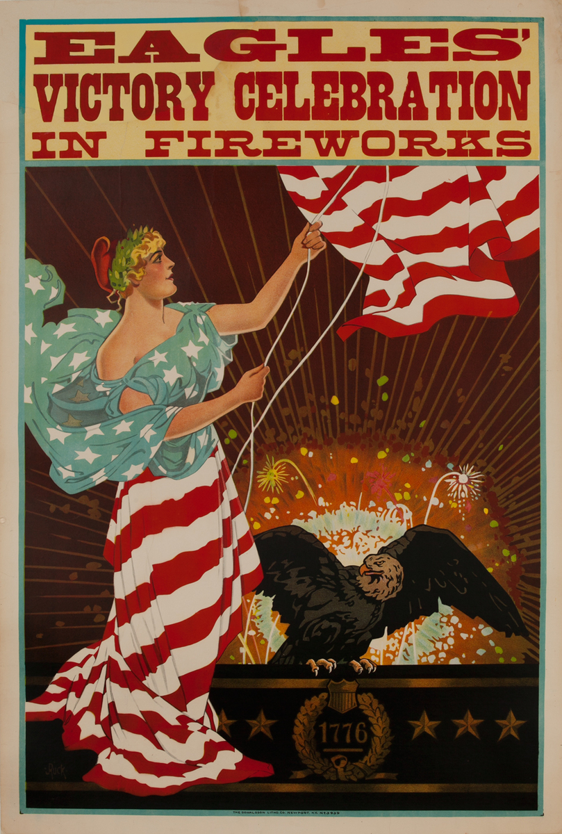 Eagles' Victory Celebration In Fireworks<br>Post WWI Poster