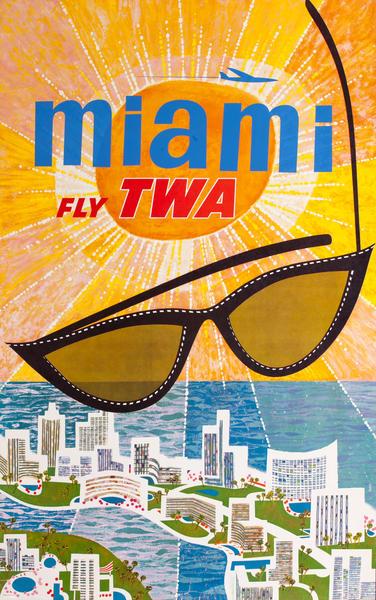 Miami Fly TWA, Sunglasses Travel Poster