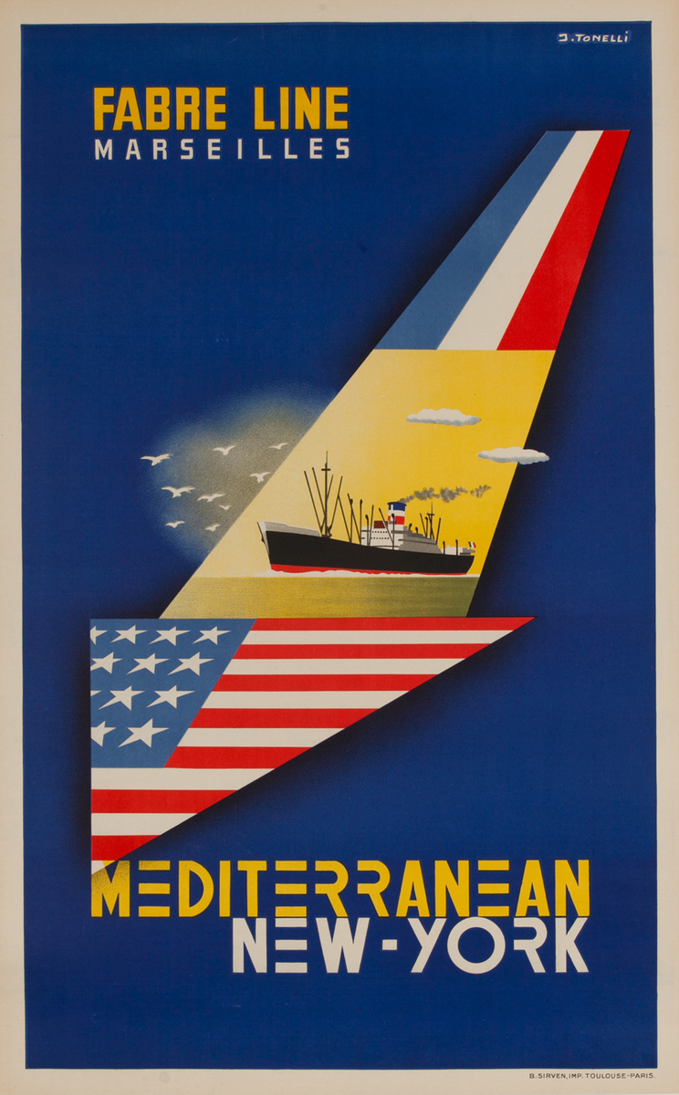Fabre Line Marseilles Mediterranean New York, Cruise Poster