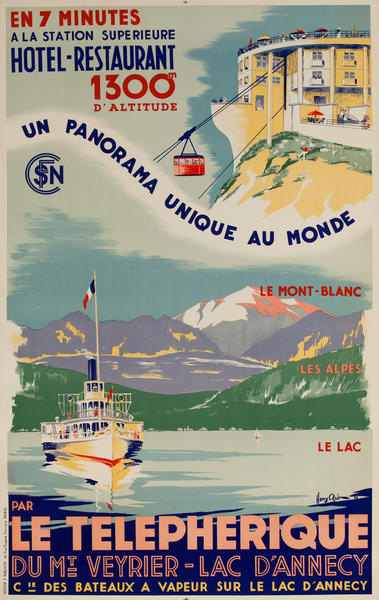 La Telepherique Du Mt Veyrier Lac D'Annecy French Travel Poster