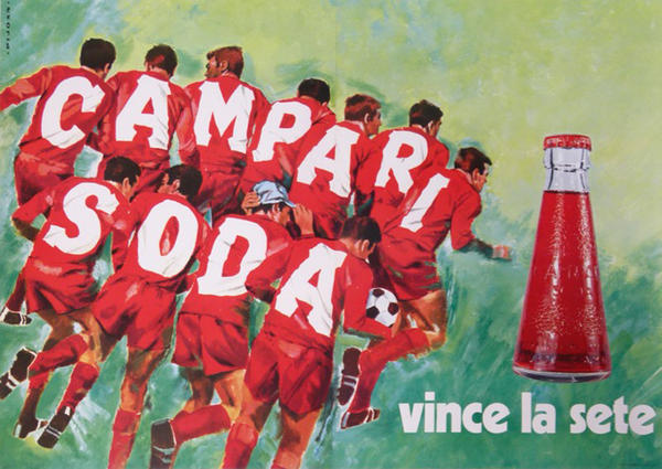 Campari Soda, Italian Advertising Poster, Soccer Team