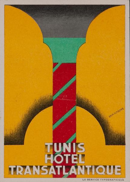 Tunis Hotel Transatlantique Luggage Label