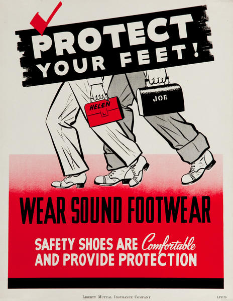Protect Your Feet, Wear Soundproof Footwear, WWII Liberty Mutual Insurance Company Poster
