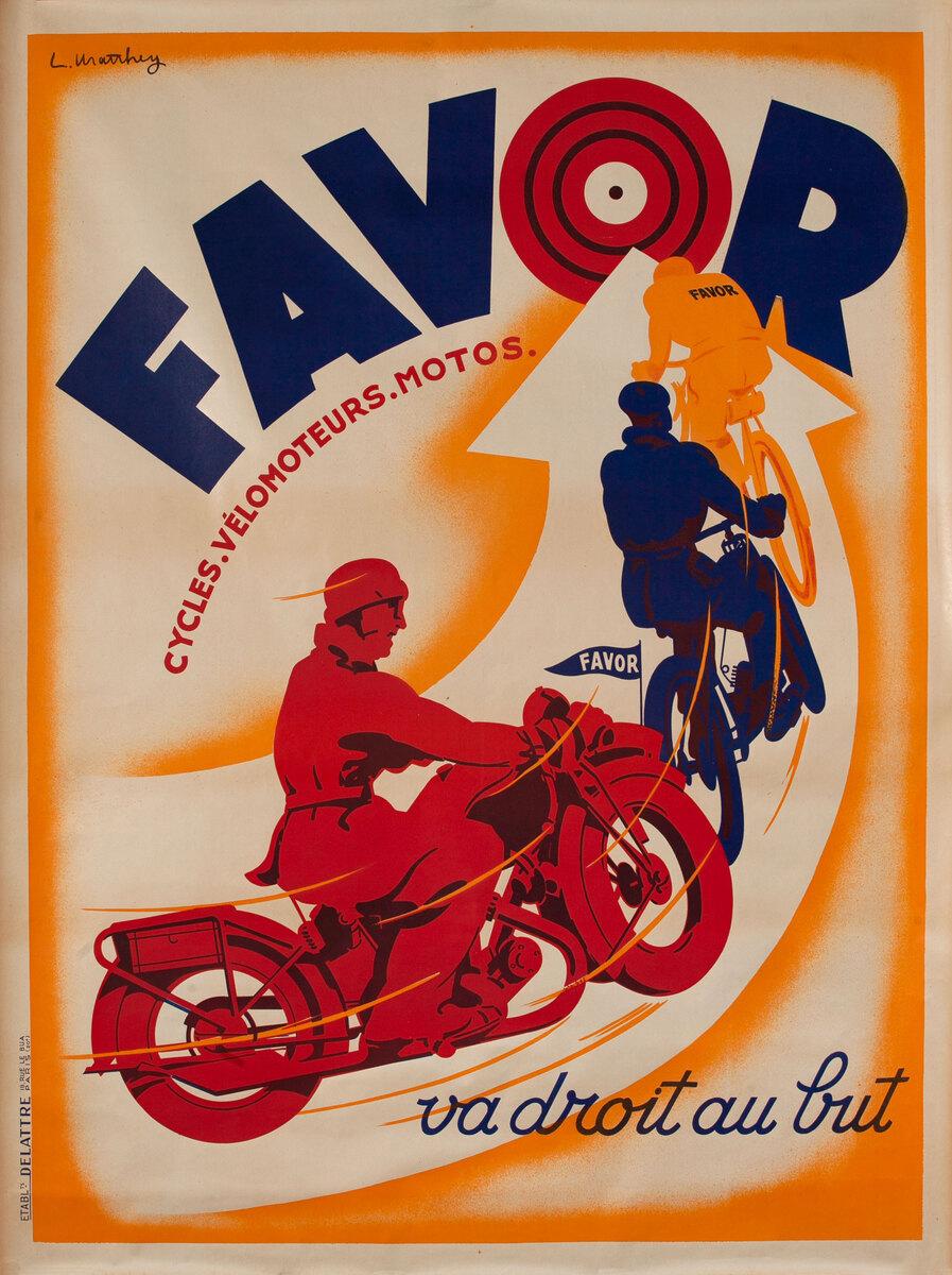 Favor Motorcycle and Bicycle Original Vintage Poster Bullseye