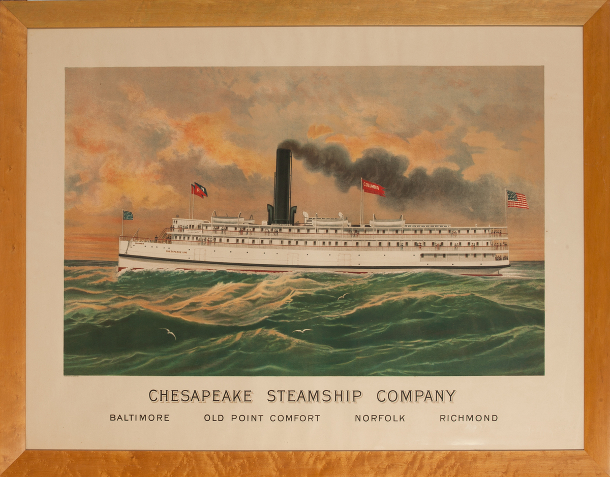 Original Chesapeake Steamship Company Poster<br>Columbia Bay Liner