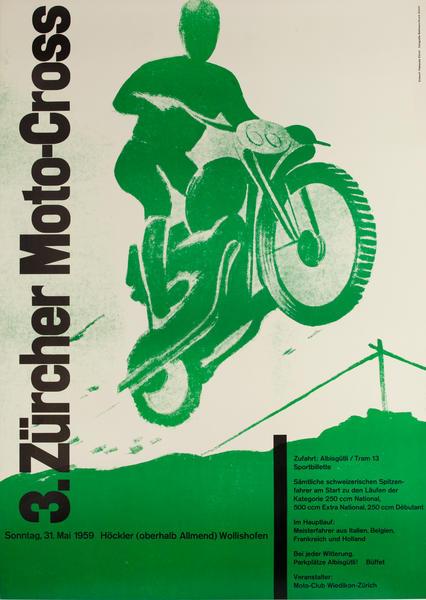 1959 Zurich Motocross Swiss Poster